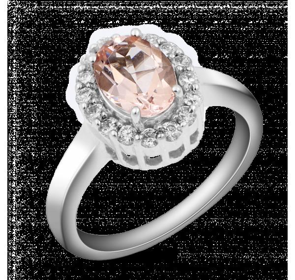 Sortija oro blanco con rosa de Francia y diamantes