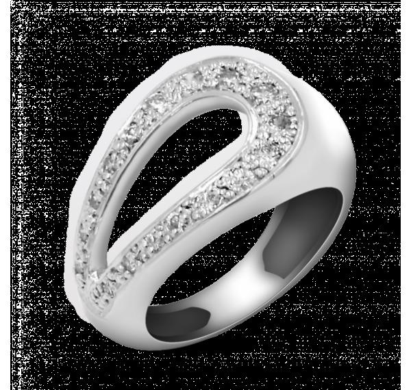 Sortija de oro blanco y lagrima de diamantes