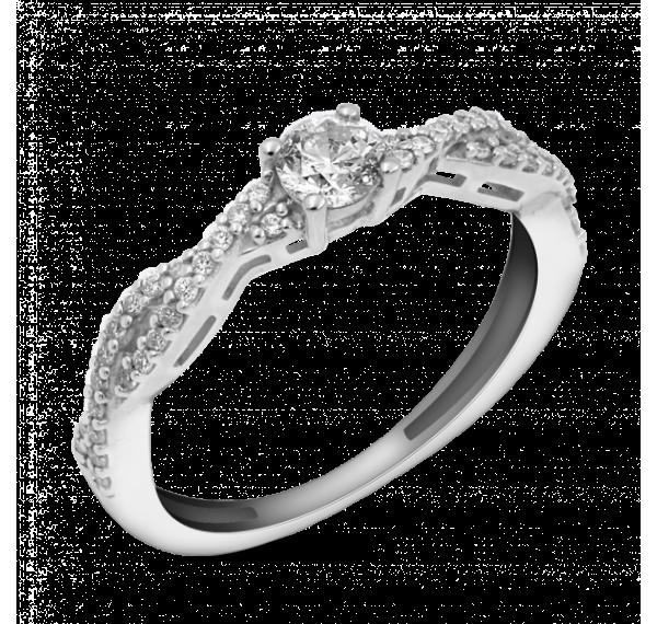 Sortija de oro blanco y trenzado de diamantes