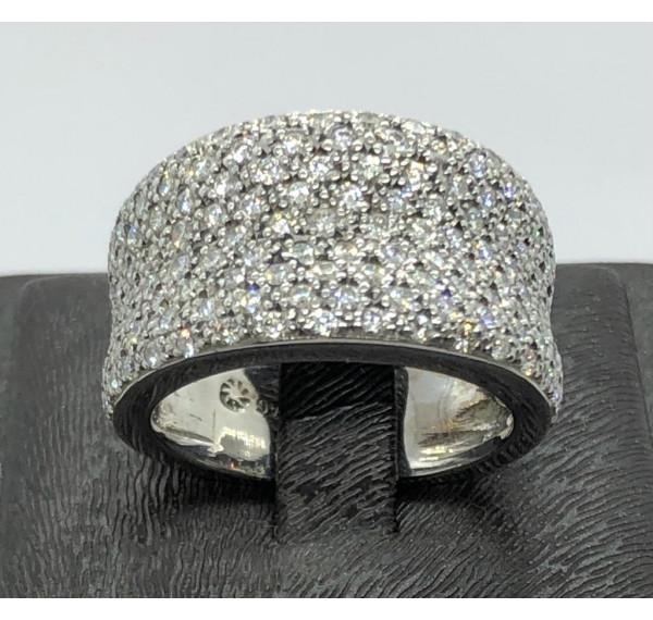 Sortija oro blanco  con pavé de diamantes