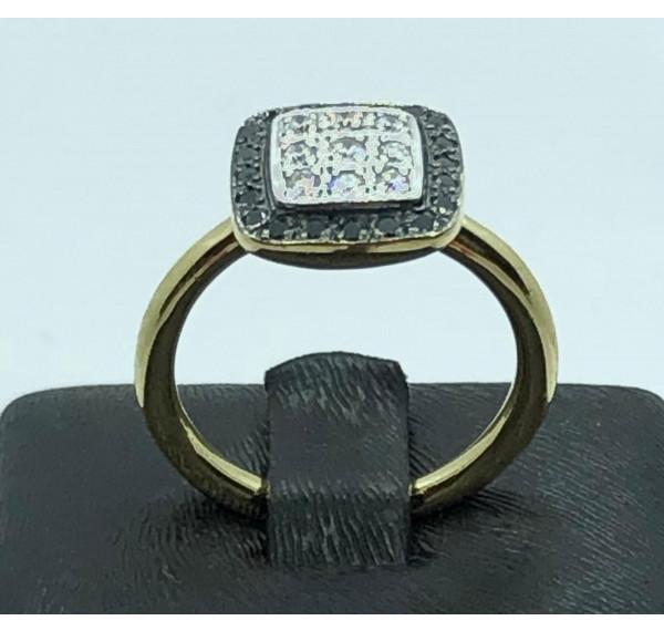 Sortija oro amarillo con roseta de diamantes bicolor