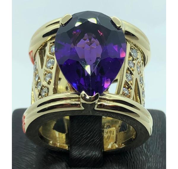 Sortija oro amarillo con amatista y diamantes