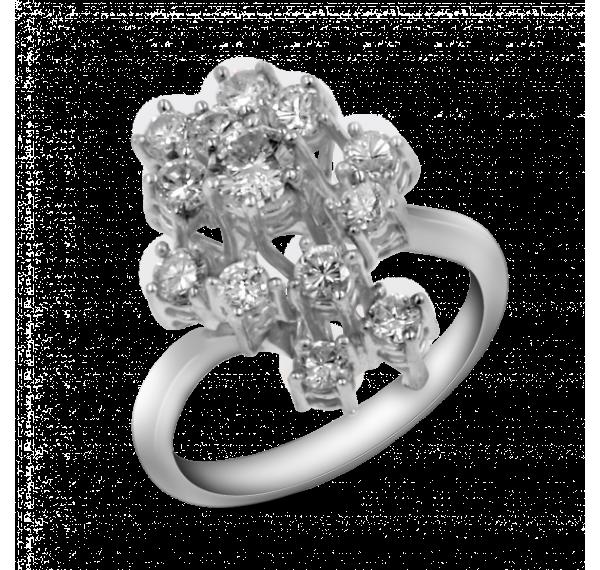 Sortija de oro blanco con rosetòn de diamantes