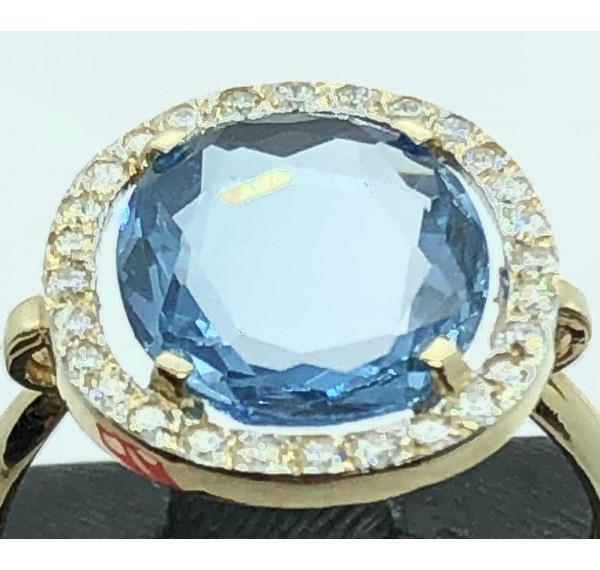 Sortija oro amarillo con aguamarina y diamantes