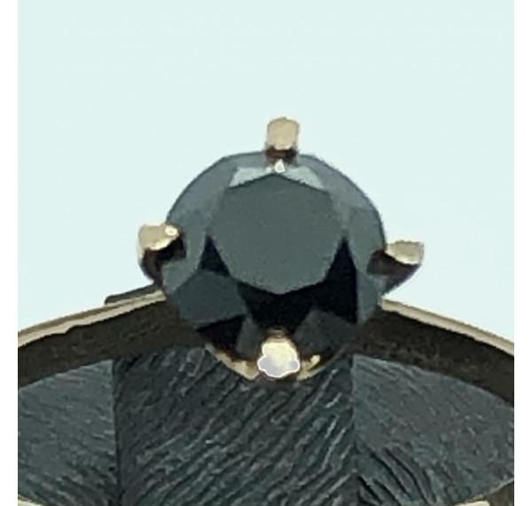 Solitario de oro rosa con diamante negro de 0,90cts