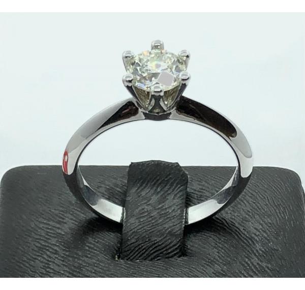 Solitario oro blanco y diamante de 0,72cts