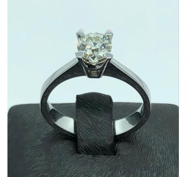 Solitario de oro blanco y diamante 0,66cts
