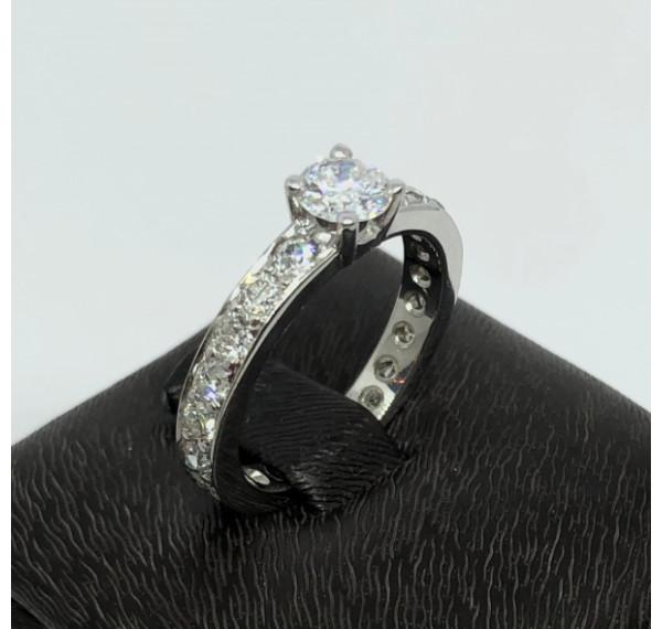 Solitario de oro blanco y diamante 0,40cts + 1cts en diamantes en alianza