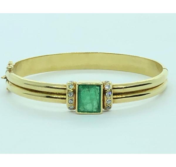 Pulsera de oro amarillo con Esmeralda y diamantes