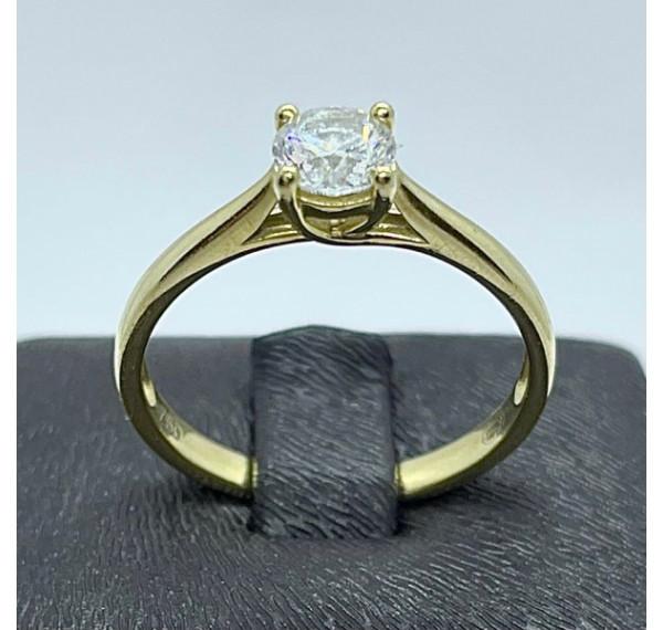 Solitario de oro amarillo y diamante 0,46cts