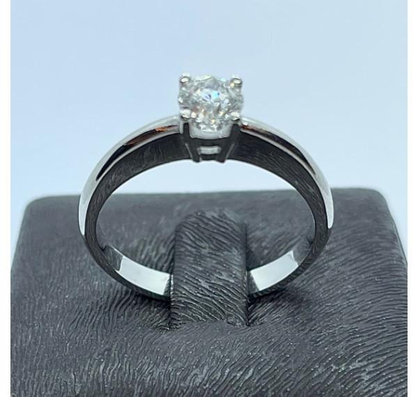Solitario de oro blanco con diamante 0,40cts