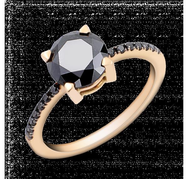 Solitario de oro rosa y diamantes negros