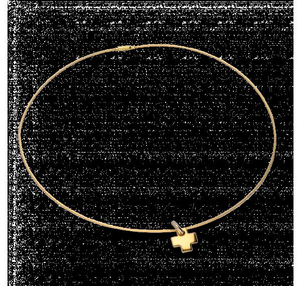 Collar rígido y cruz en oro amarillo