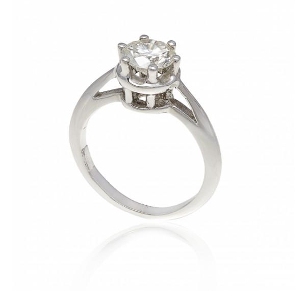 Solitario de oro blanco y diamante 0,96cts