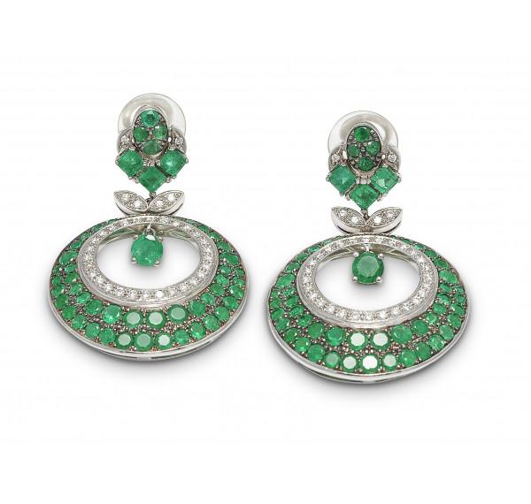 Pendientes esmeraldas y diamantes