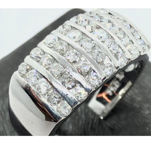 Sortija oro blanco con pavés de diamantes