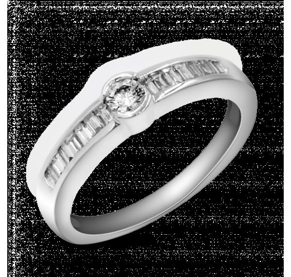 Sortija de oro blanco y diamante brillante y baguettes